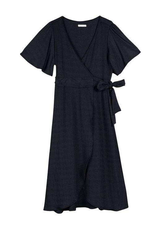 Vestido Midi Em Malha De Viscose Com Fechamento Por Sobreposição - Preto