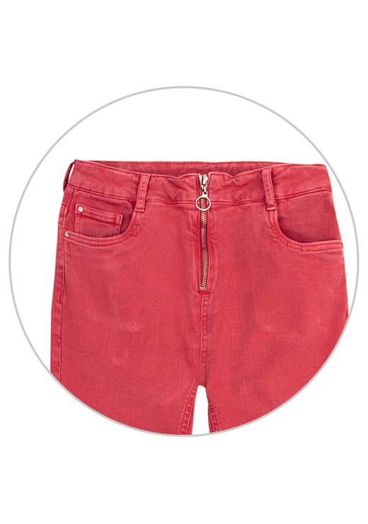 Calça Skinny Em Sarja Com Cintura Média Alta E Zíper - Vermelho