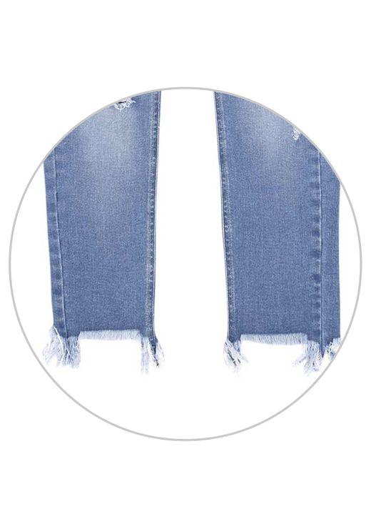 Calça Jeans Skinny Com Cintura Média Alta - Azul
