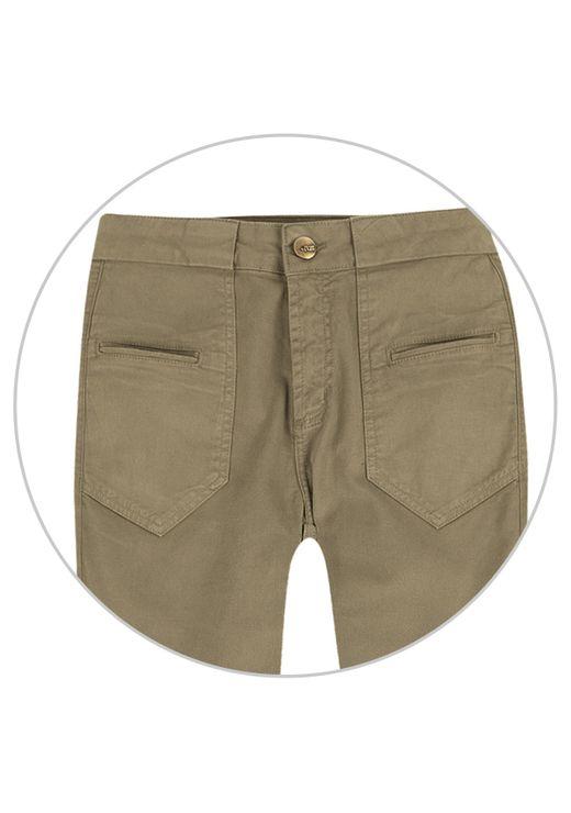 Calça Skinny De Sarja De Algodão Com Cintura Alta E Bolsos - Verde