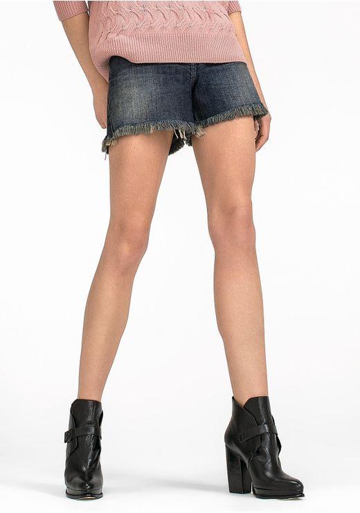 Shorts Jeans Em Algodão Na Base Quadradinho Com Barra Dobrada - Azul