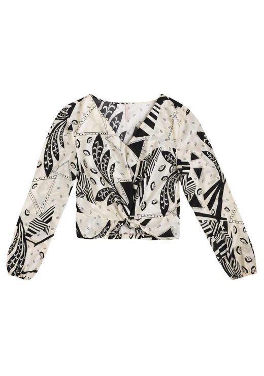 Blusa Estampada Em Tecido De Viscose Com Transpasse - Off White