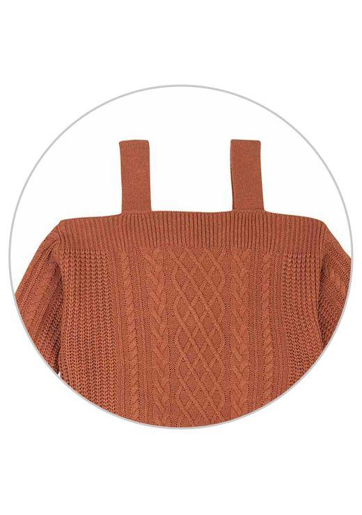 Blusa Em Tricô Com Ombo A Mostra - Marrom