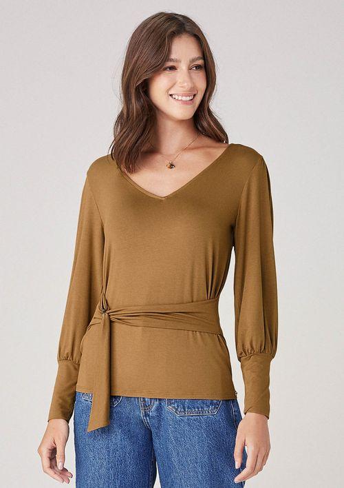 Blusa Em Malha Com Amarração - Marrom