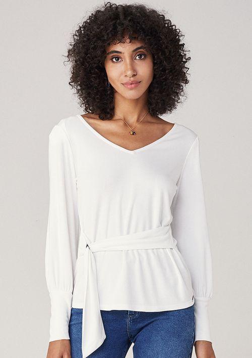 Blusa Em Malha Com Amarração - Off White