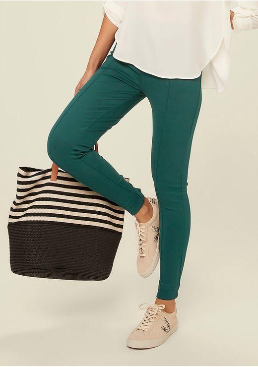 Calça Skinny Com Cintura Alta - Verde