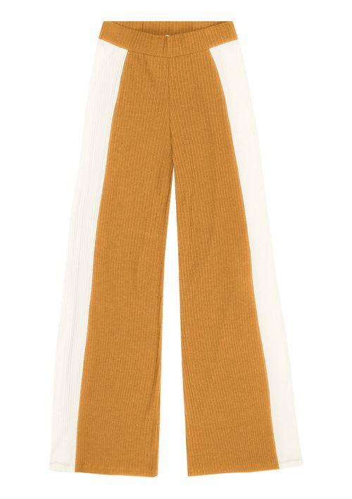 Calça Pantalona Cintura Alta - Amarelo