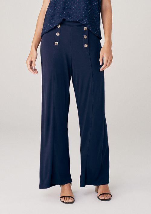 Calça Pantacourt Em Malha Com Cintura Alta - Azul