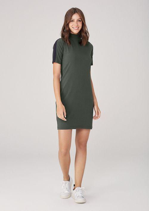 Vestido Em Malha Gola Alta - Verde