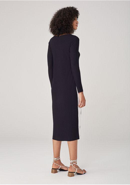 Vestido Em Tecido Com Faixa Lateral - Preto