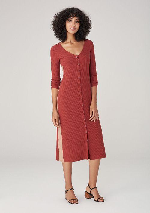 Vestido Em Tecido Com Faixa Lateral - Vermelho