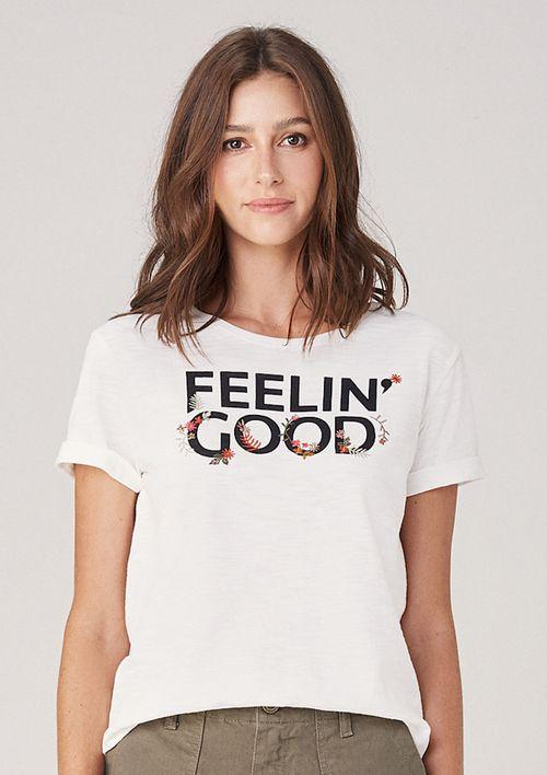 T-shirt Em Malha Com Estampa Frontal - Branco