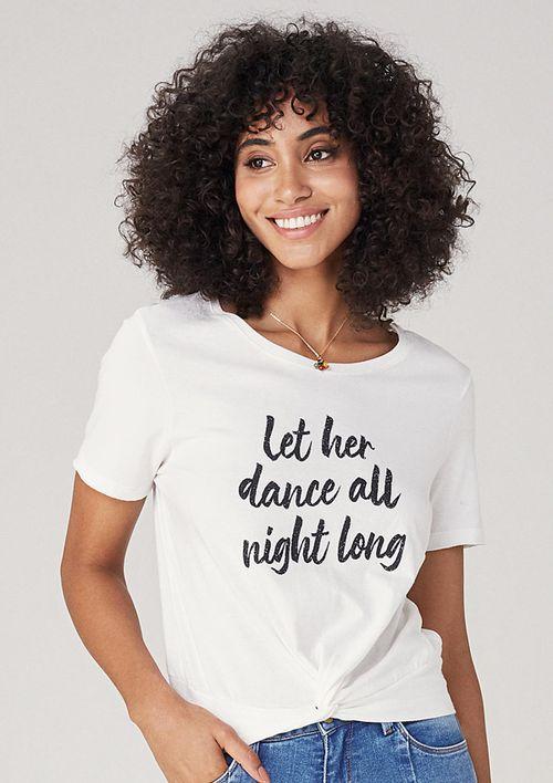T-shirt Em Malha Com Nó Frontal - Cinza
