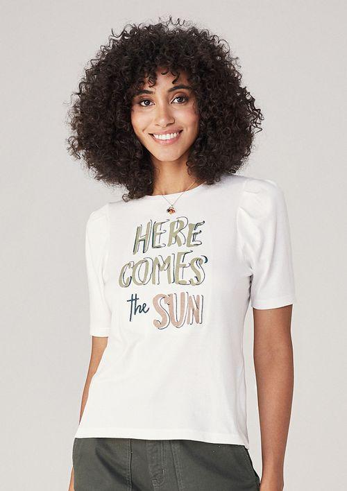 T-shirt Em Malha Com Bordado - Cinza