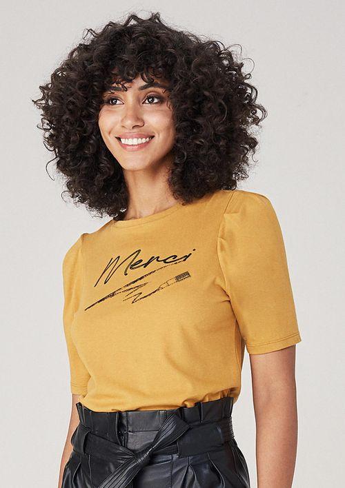 T-shirt Em Malha Com Bordado - Amarelo