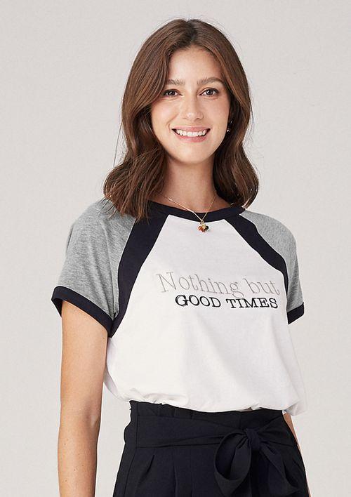T-shirt Em Malha Raglan - Cinza