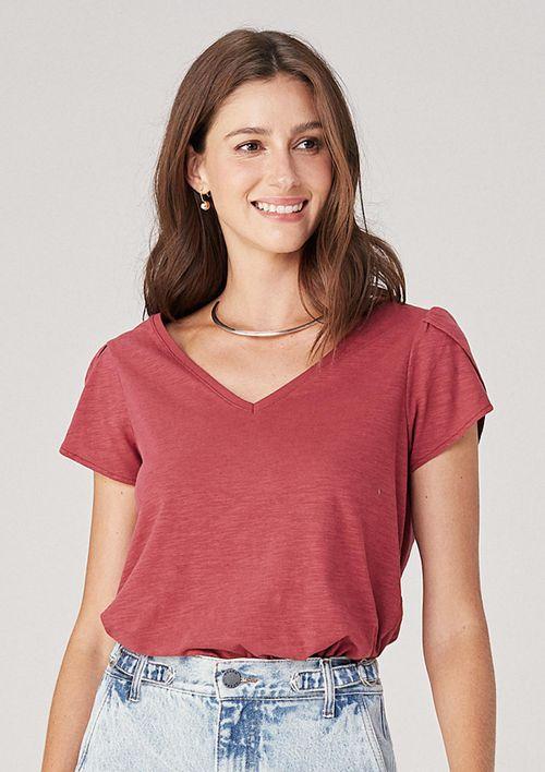 Blusa Básica Em Malha Decote V - Vermelho