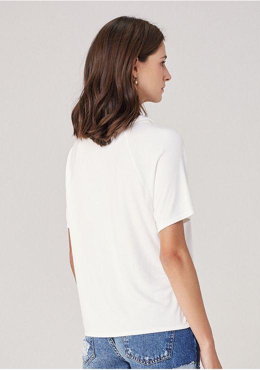 Blusa Em Malha Com Gola - Off White