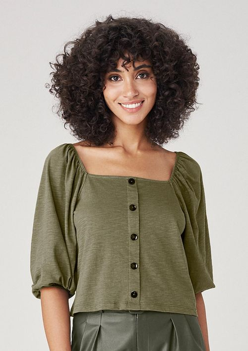 Blusa Em Malha Manga Bufante - Verde