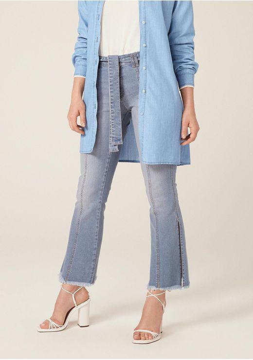 Calça Jeans Boot Cut Petit Cintura Alta Com Amarração - Azul