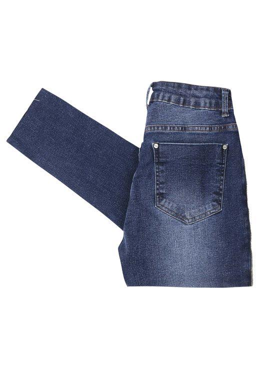 Calça Jeans Reta Com Elastano - Azul Escuro