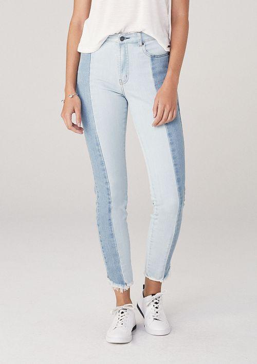 Calça Skinny Em Jeans Cintura Média - Azul