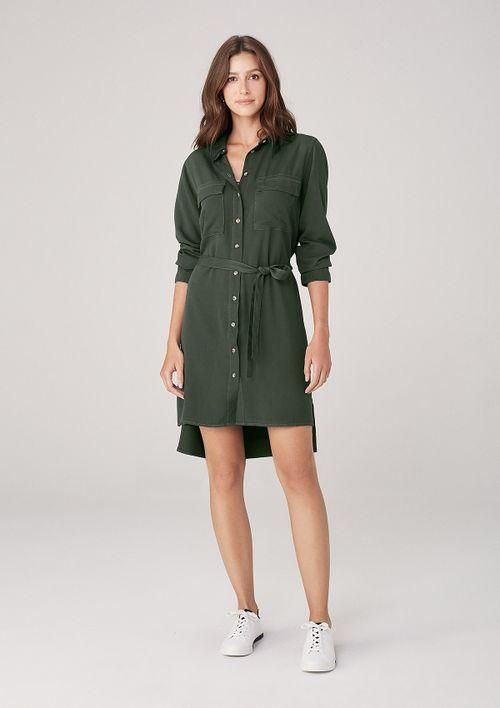 Vestido Em Sarja Com Faixa - Verde