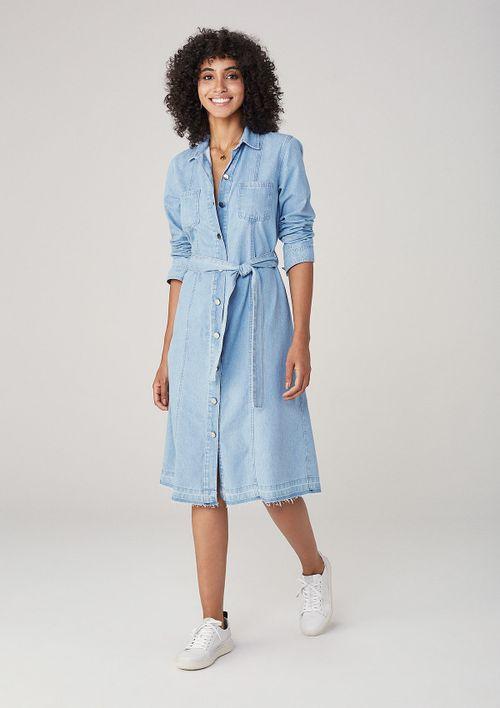 Vestido Feminino Midi Em Jeans Com Botões - Azul
