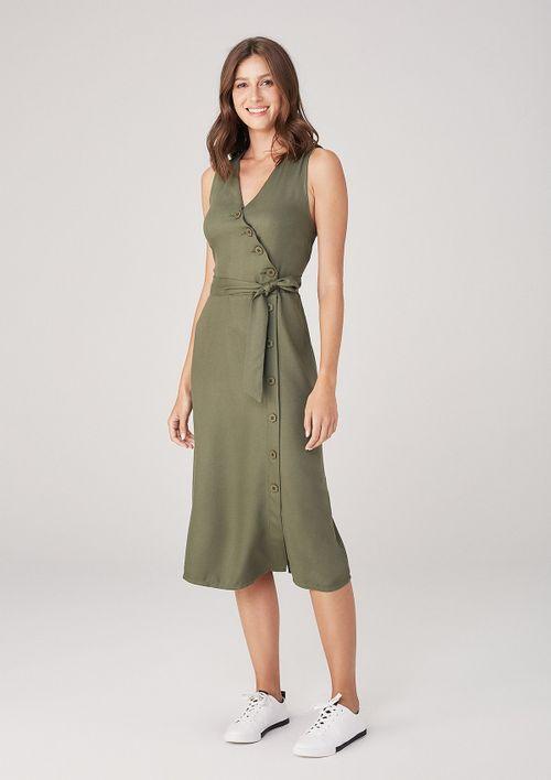 Vestido Midi Em Tecido Com Amarração - Verde