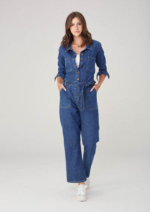 Macacão Feminino Em Jeans Manga Longa - Azul