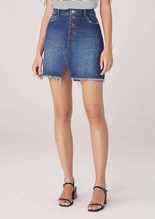 Saia Curta Em Jeans Com Botões - Azul