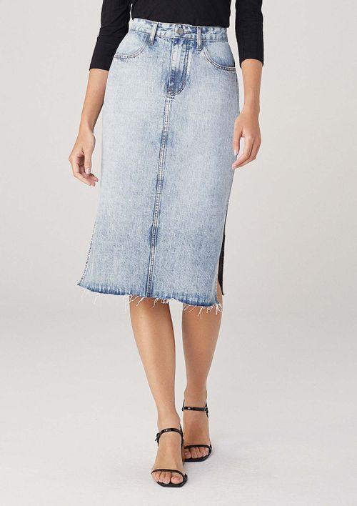 Saia Midi Em Jeans Com Fendas Laterais - Azul