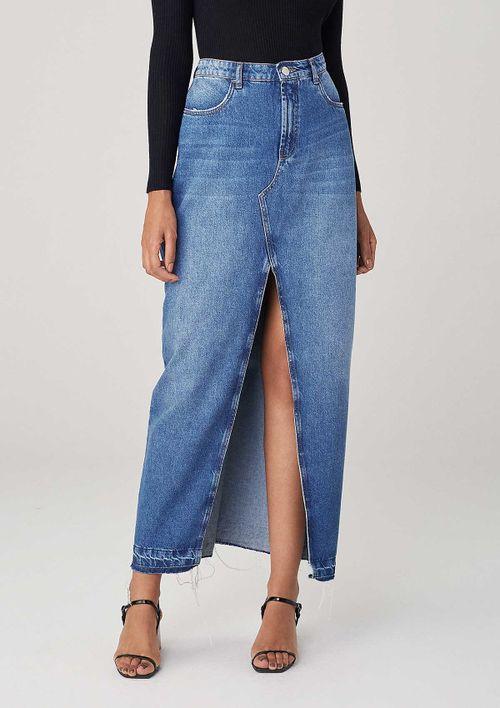 Saia Longa Em Jeans Com Fenda Frontal - Azul