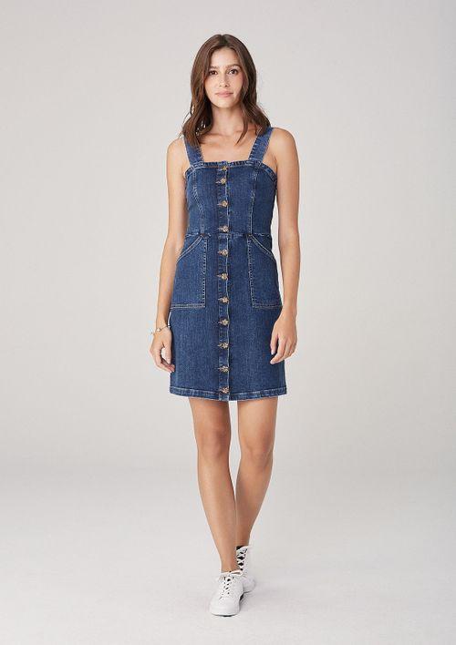 Vestido Feminino Em Jeans  Com Botões - Azul