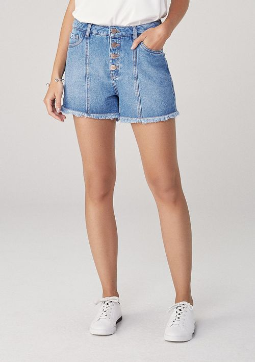 Shorts Em Jeans Cintura Média - Azul