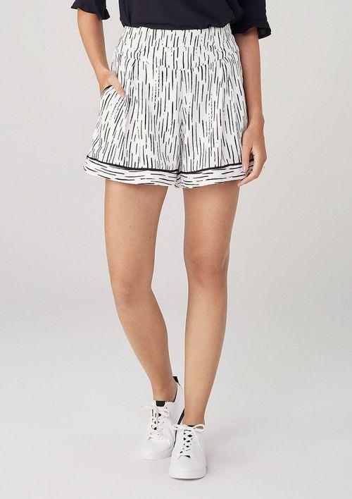 Shorts Em Tecido Ráfia - Off White