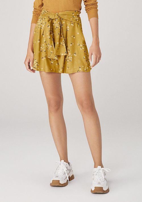 Shorts Em Tecido Com Amarração - Amarelo