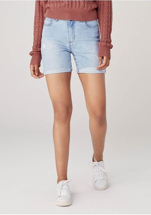 Bermuda Em Jeans Cintura Média Eco Denim - Azul