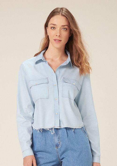 Camisa Jeans Cropped Manga Longa - Azul