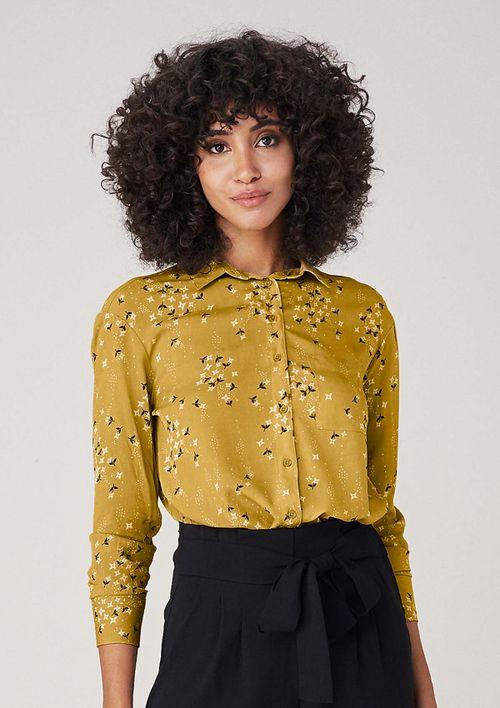 Camisa Em Tecido Estampado - Amarelo