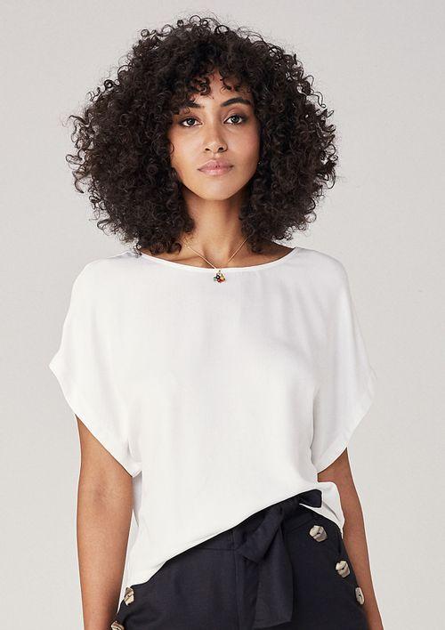 Blusa Em Tecido Decote Nas Costas - Off White