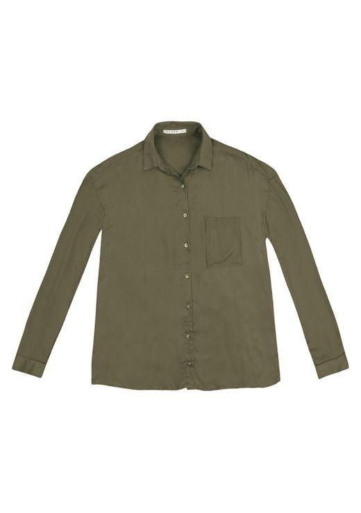 Camisa Manga Longa Com Bolso - Verde