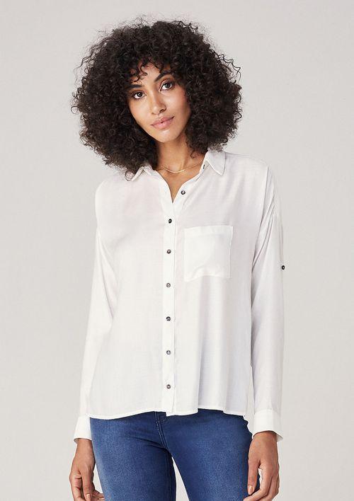 Camisa Manga Longa Com Bolso - Off White