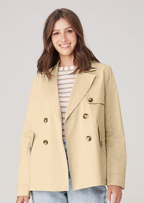 Casaco Trench Coat Em Alfaiataria De Sarja - Bege