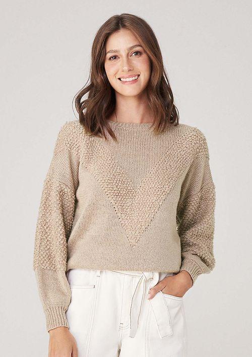 Suéter Em Tricot - Bege