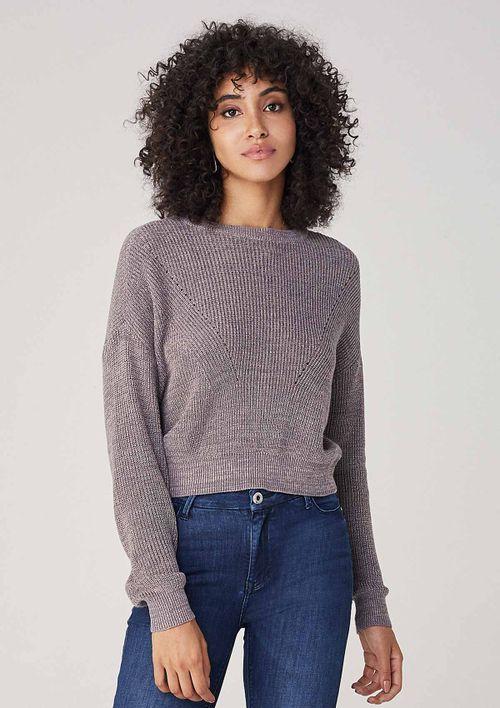 Suéter Em Tricot - Cinza