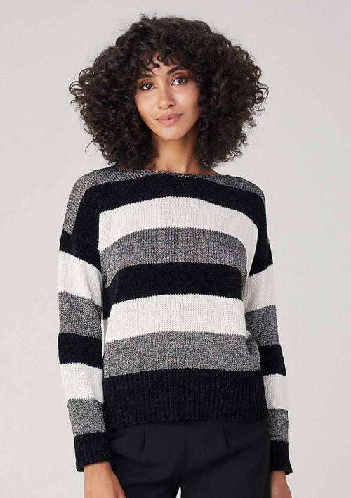 Suéter Em Tricot Listrado Metalizado - Preto