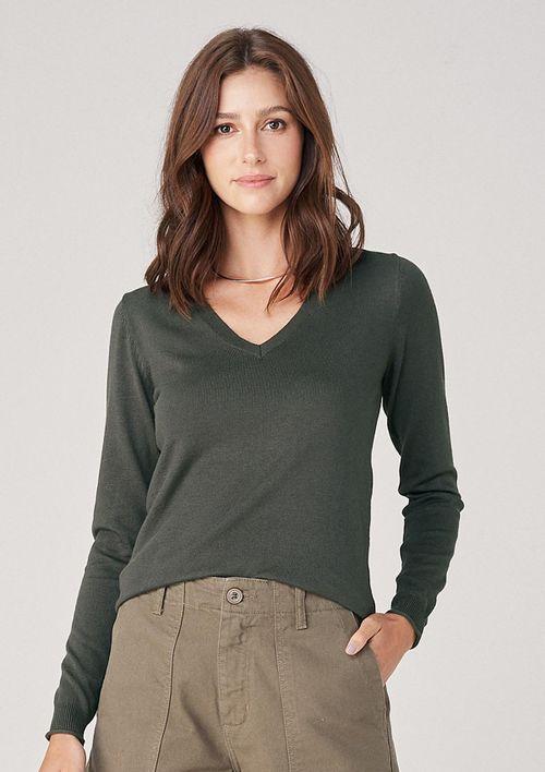 Suéter De Tricô Decote V - Verde