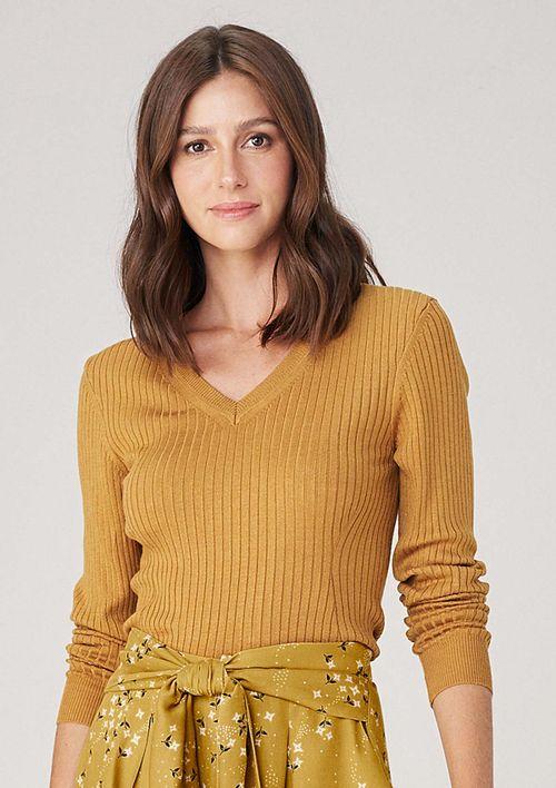 Blusa Em Tricot Decote V - Amarelo