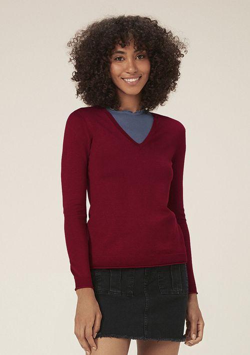Suéter De Tricô Decote V - Vermelho